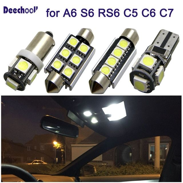 27pcs Car Led Light For Audi A6 S6 Rs6 C5 C6 C7 Sedan Avant 97 16 Canbus Auto Interior Light Kit Dome Reading Lights Bulbs Car Led Lights Car Interior Car Led