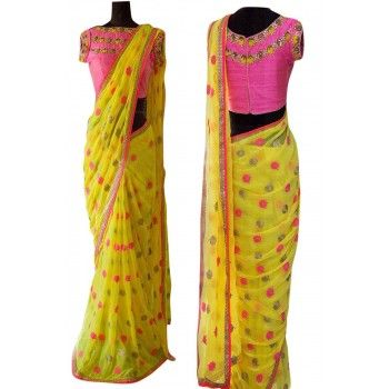 Georgette Yellow Printed Saree - D1047