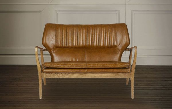 Midcentury-style Whitworth leather two-seater sofa and armchair at Laura Ashley