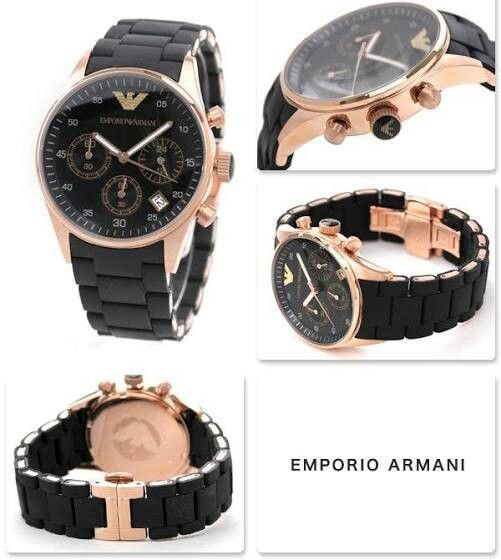 Emporio Armani. Rose gold and  black womens watch
