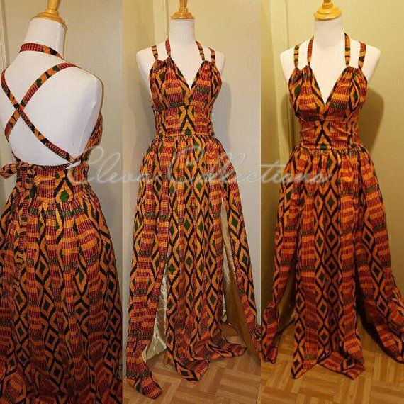 Kente Queen African Print plunging Halter Two Slit Maxi Dress with Pockets