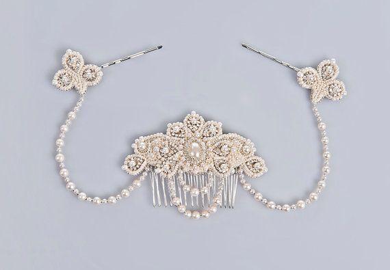 Lucrezia casque nuptiale de perle et cristal cheveux unique vraie d'eau douce perles bijoux vintage inspiré