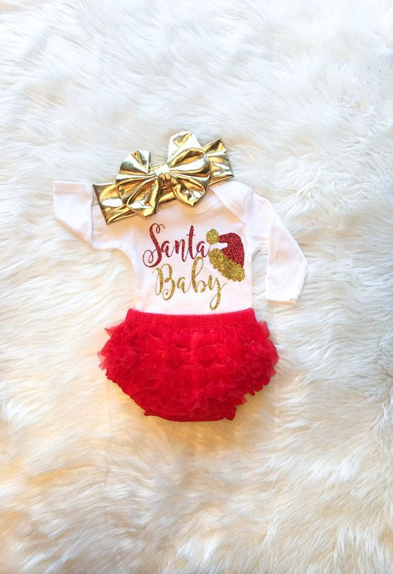 Santa Baby Girl Christmas Outfit Baby\u0027s First Christmas Gold and Red
