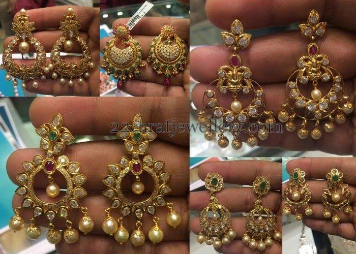 Jewellery Designs: Latest Chandbalis in Uncut Diamonds