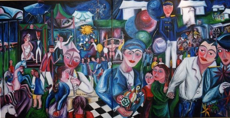 Patricia Tobaldo  EL PARQUE DE ATRACCIONES - Diptico  oleo sobre Lienzo, 200 x 100 - Año 2003  Obra expuesta en España (Galería Martinez Glera - Logroño, La Rioja) y en Francia (Office de Tourisme de Tarbes, Tarbes)