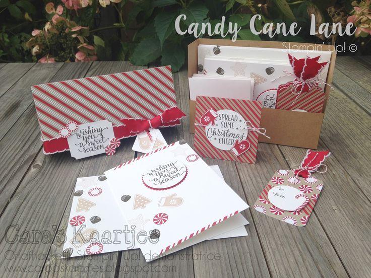 Stampin' Up!, Candy Cane Lane, Candy Cane Christmas, christmas card set, box christmascards, tages, kerstkaarten, doosje met kerstkaarten, labels
