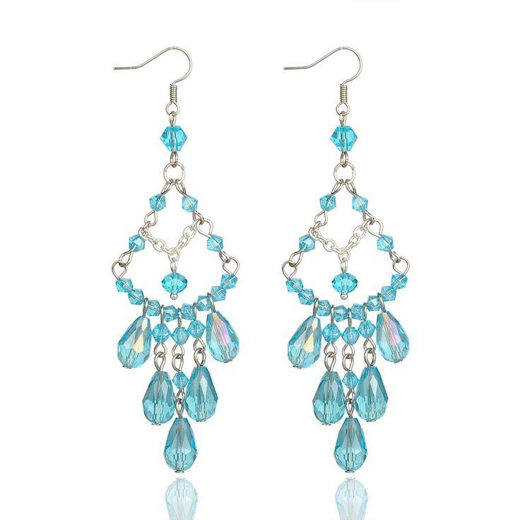 Galvanisieren stilvolle Glasperlen Ohrringe, Eisenkreuz mit Eisenketten Ohrhaken, skyblue
