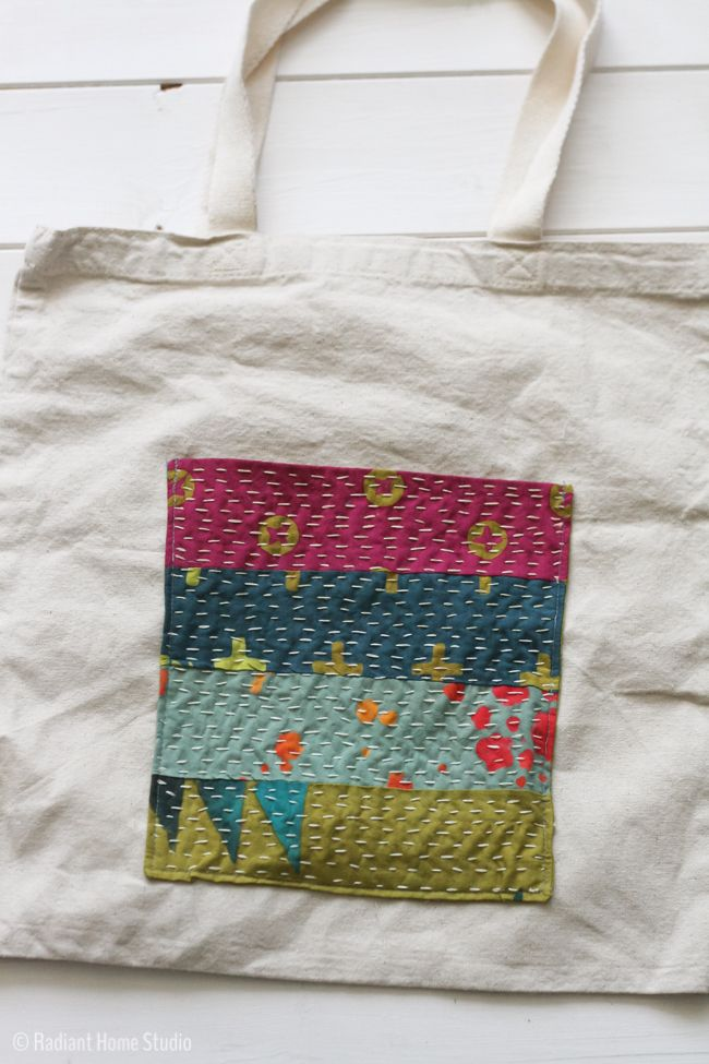 DIY instructions to create a Kantha Stitched Pocket {Tote Bag Upgrade} | Radiant Home Studio