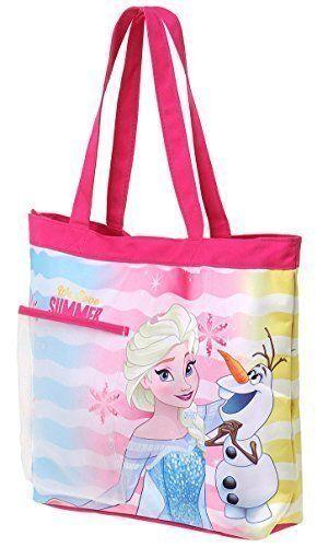 Sac de plage – Cabas enfant fille La reine des neiges 'Summer' Rose/bleu 33cm: Grand sac de plage – cabas enfant La reine des neiges rose,…