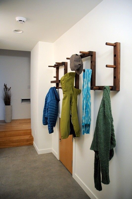THRU-BLOCK Walnut Coat Rack - 9 Piece Set with Key/Wallet Shelf