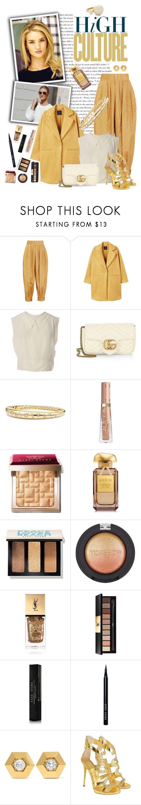 """Golden Rose"" by espritducoeur ❤ liked on Polyvore featuring Gucci, Ultimate, Whiteley, MANGO, Chanel, David Yurman, Bobbi Brown Cosmetics, AERIN, Topshop and Yves Saint Laurent"