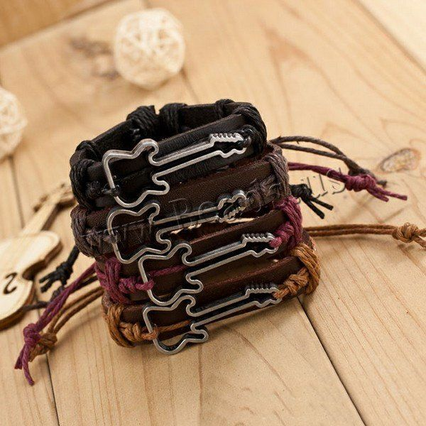Genuine Leather Unisex Guitar Charm Bracelet – Great Guitar Gifts