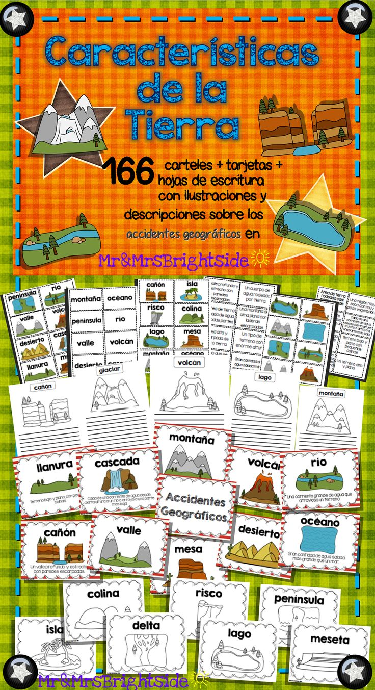 Landforms in spanish: posters  activity cards !! 166 pack: posters come in color and black/white; perfect for social studies or science bilingual and dual language classrooms. Accidentes geograficos