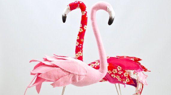 Pink cotton flamingo bird textile sculpture by AtelierCaroline-33cm-56EUR