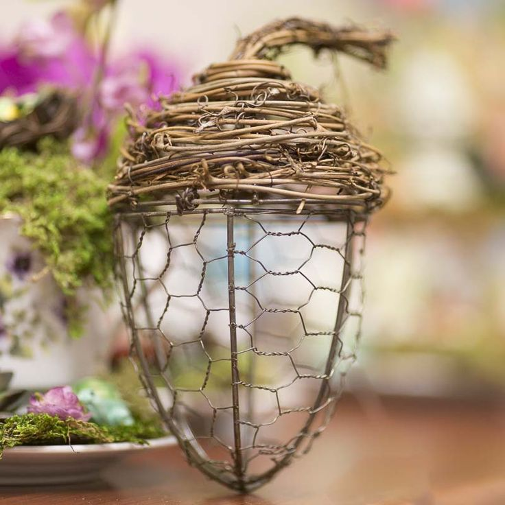 Chicken wire and grapevine acorn chicken wire crafts for Chicken wire craft ideas