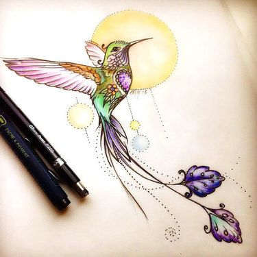 Cool Hummingbird Tattoo Design
