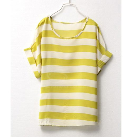 Plus Size Scoop Neck Striped Short Sleeve Chiffon Summer T-Shirt For Women (YELLOW,ONE SIZE) China Wholesale - Sammydress.com
