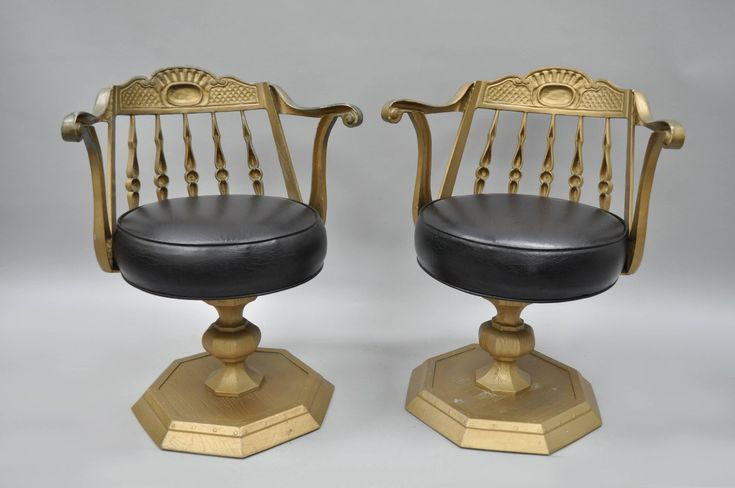 Art Deco Cast Aluminium Swivel Club Chairs or Armchairs Kessler Ind Set of Four | From a unique collection of antique and modern club chairs at https://www.1stdibs.com/furniture/seating/club-chairs/