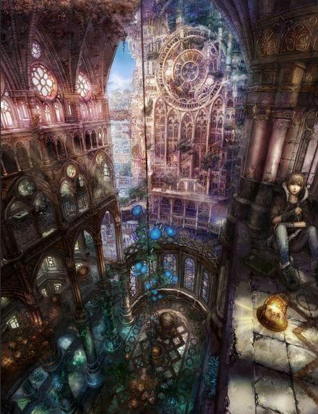 ____ORIGINAL VERSION ____                hiding in the cathedral anime , landscape , manga , art , fantasy , city , cityscape