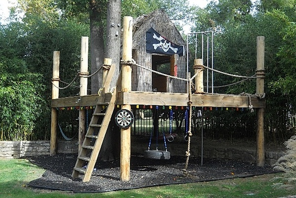 Pirate ship treehouse...would be easy to add some pirate details...
