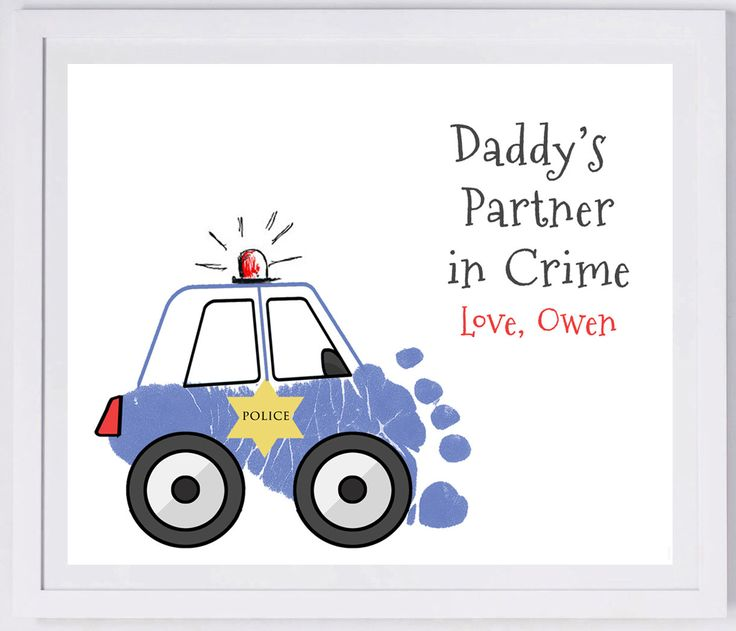 Police Car made from your child's prints!, Forever Prints. Mom, Dad, Grandma., Nursery Wall Art, New baby. Choose colors. T108 by MyForeverPrints on Etsy https://www.etsy.com/listing/229805000/police-car-made-from-your-childs-prints