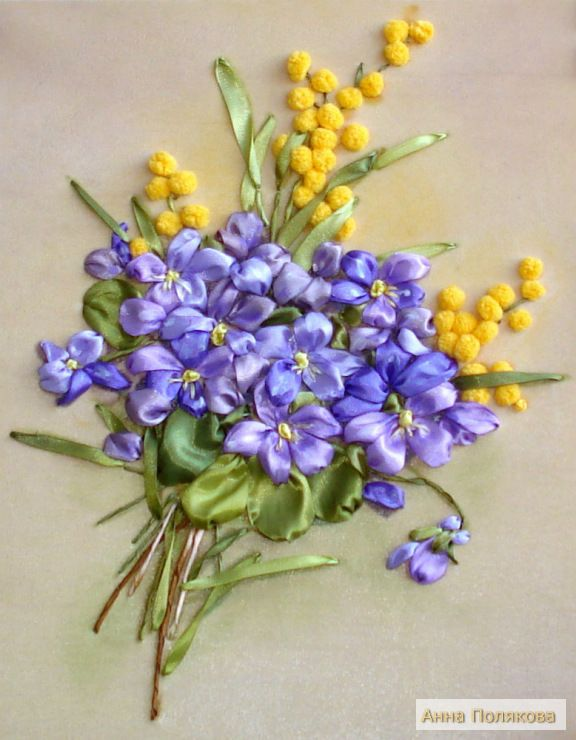 Violets and yellow berries #ribbonEmbroidery