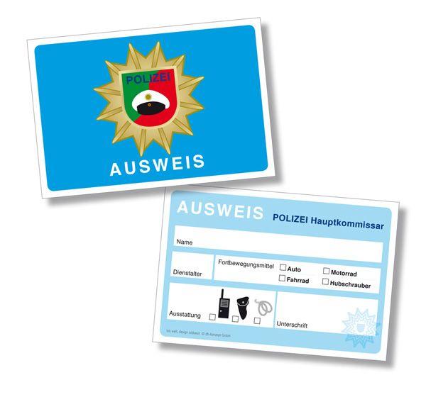 Ein echter Polizist braucht auch einen Dienstausweise. Also findet ihr für eure Polizei Party die Dienstausweise bei www.party-princess.de