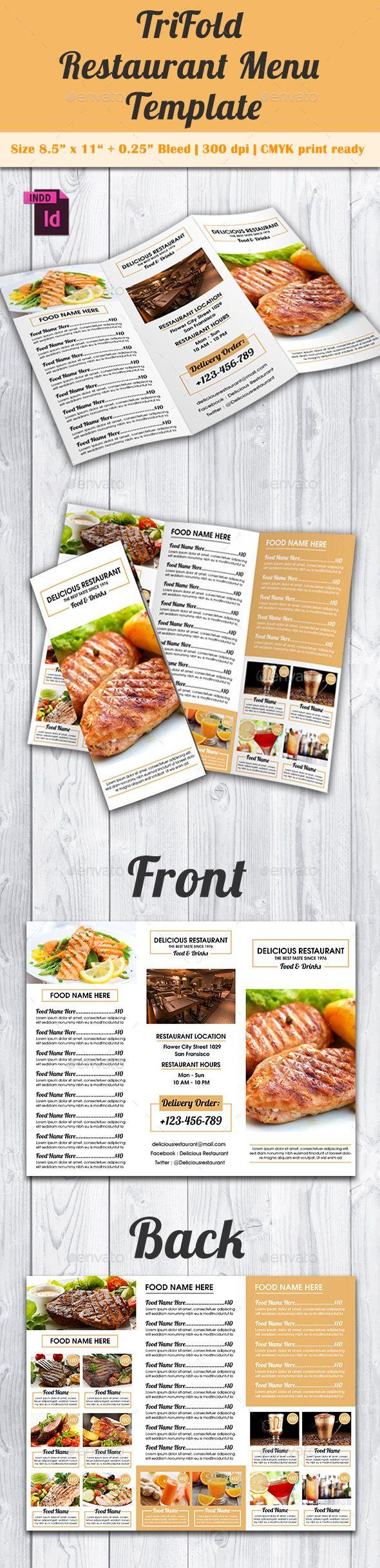TriFold Restaurant Menu Template Vol. 9