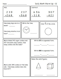 Common Core Math Spiral Reviews for second grade, addition and subtraction with regrouping, telling time, geometry, expanded form, word problems, place value
