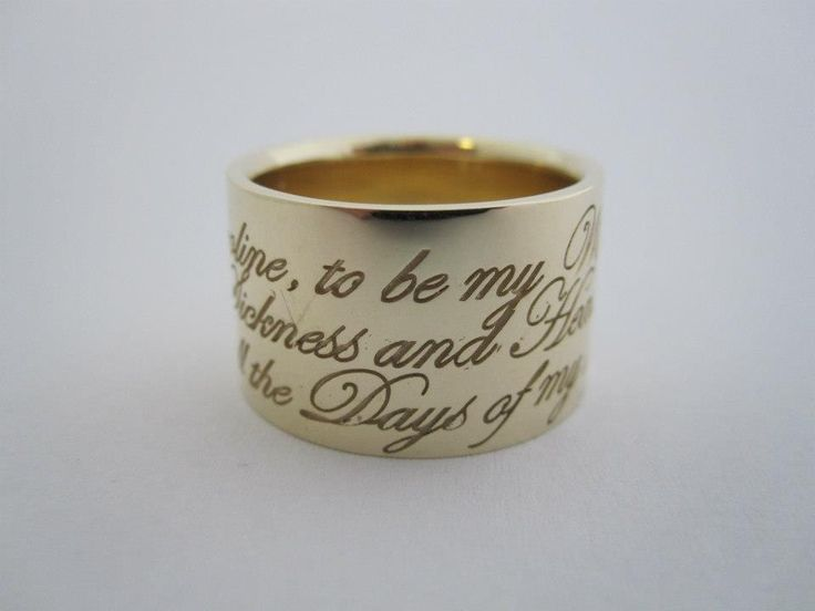 Put your own amazing vows on your partners wedding ring . Yellow gold wedding band . Custom made jewellery by seventysixdesign