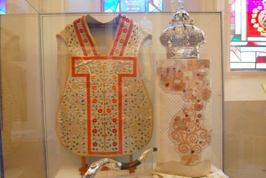 An embroidered chasuble made from Augusta Elizabeth Baldwin's wedding dress is one of 118 items on display at St. James Cathedral for the next week. Baldwin married Grand Trunk Railway president John Ross at St. James in 1851 and their son Robert was one of Oscar Wilde's lovers.