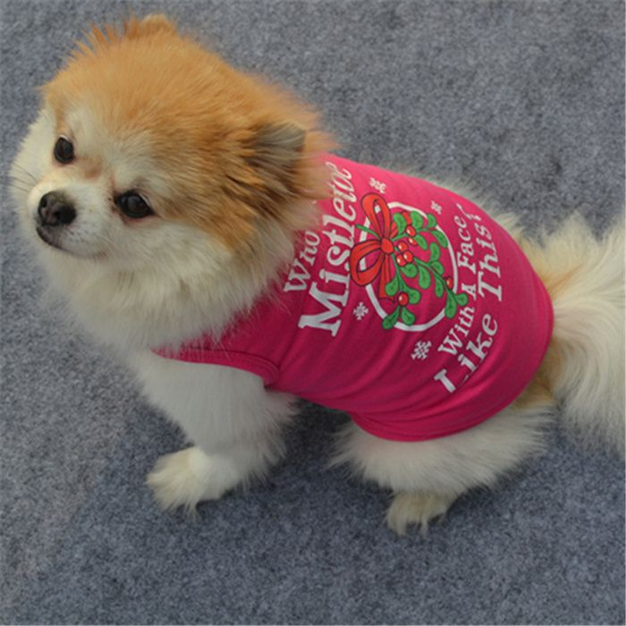 Pet Dog Costume Rose Cotton Vest Christmas Dress Small Dog Clothes Patterns Small Puppies Dog Care Supplies