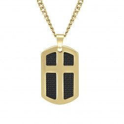 Stainless Steel Yellow Tone Dog Tag Cross Personalized Pendant - $60.00