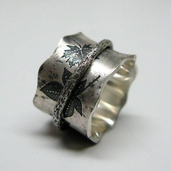Vallende bladeren Sterling Zilver Spinner Ring door janiceartjewelry