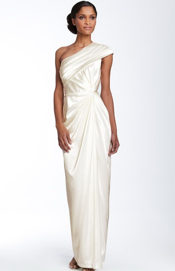 Adrianna Papell - One Shoulder White Evening Dress - Front