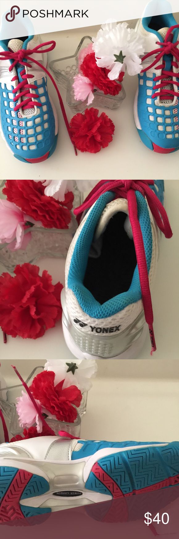 Yonex Women's Power Cushion Pro Tennis Shoes. Yonex Women's Power Cushion Pro Tennis Shoes White and Blue with fuchsia lace. In excellent preowned condition. Size: 7.5 Yonex Shoes Sneakers