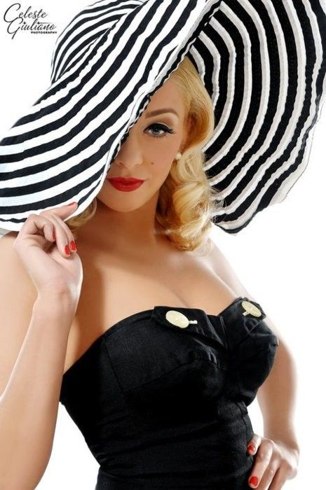 Sun hat with pin up hair style