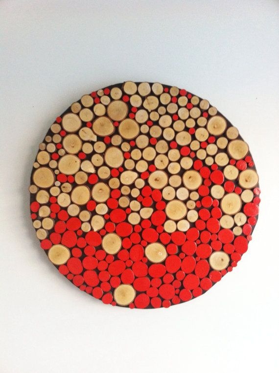 "Sliced Wood Wall Abstract Art-Home Decor-Rustic Modern 32"" Large Round Circle"