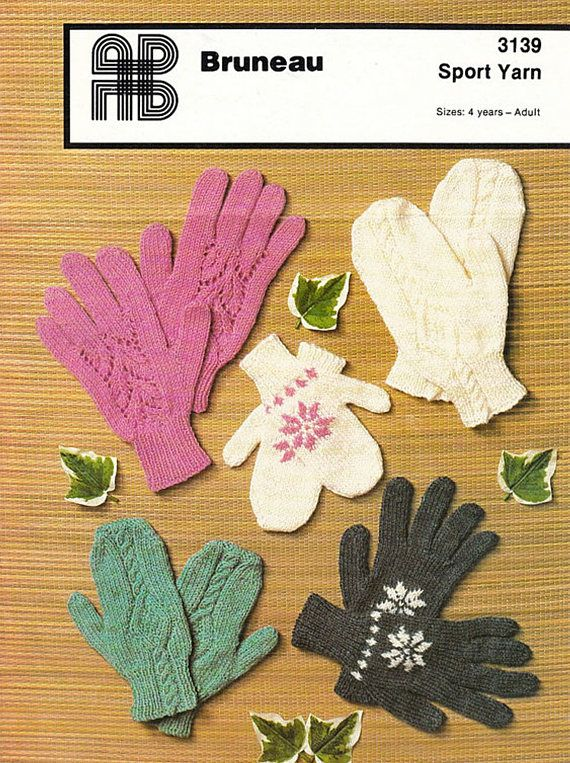 PDF Vintage Gloves & Mittens Knitting Pattern Family Womens