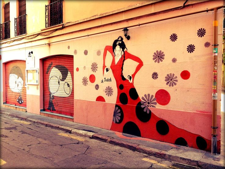 flamenco street art. ..  Perhaps oil on large canvas as a set for the entry way?.... Viva Flamenco!