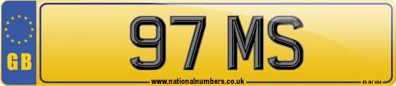 Personalised registration mark 97 MS. A dateless number plate, suitable for assignment to any roadworthy car, van, heavy goods vehicle, moped or motorcycle.