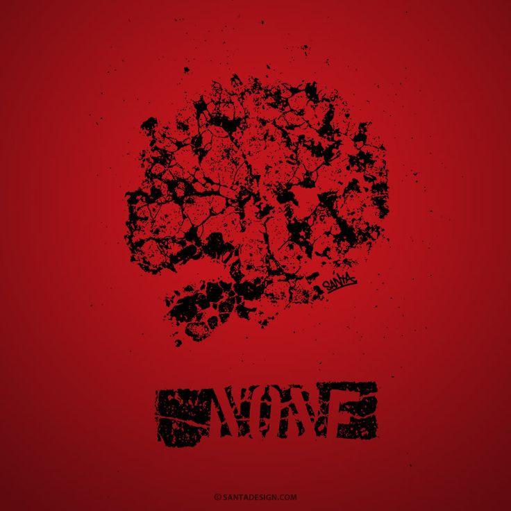 Street Zombie / Photo -> Photoshop -> Illustrator / #Street #Skull #Zombie #Photo #Photoshop #Illustrator