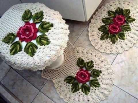 Juego de baño tejidos a crochet - YouTube
