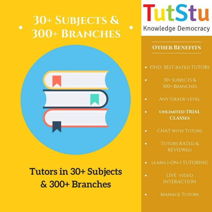 Here at TutStu, find & get tutors over multiple subjects. TutStu offers you tutors for 30+ subjects 300+ branches.  https://tutstu.com/online-tutors