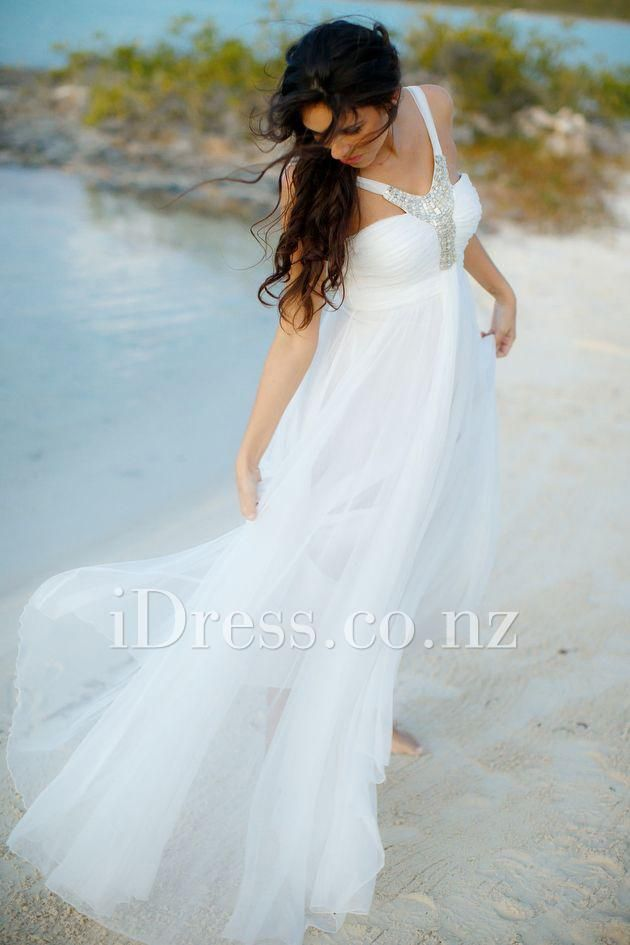 metallic embroidery halter neck long tulle beach wedding dress