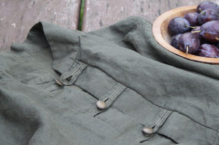 "Natural linen shirt, khaki, metal buttons and ""švestičky""…"