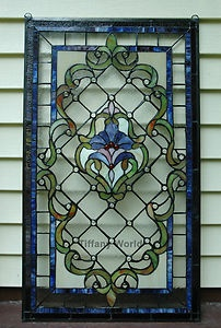 "stainglass for large windows | 20"" x 34"" Large Jeweled Tiffany Style Stained Glass Window Panel ..."