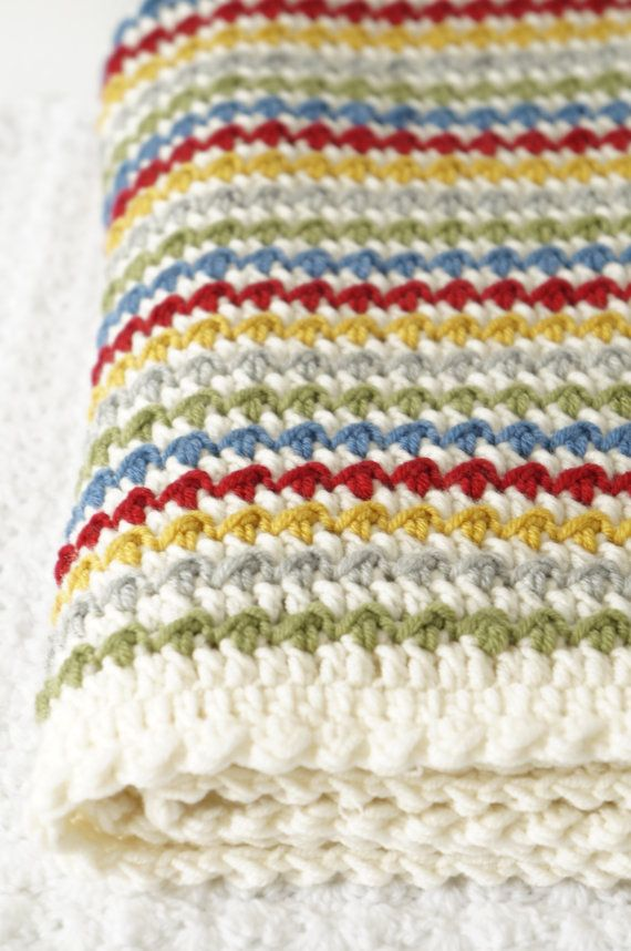 Winifred Baby Blanket Crochet Pattern Instant Download PDF Textured Striped Colourful Soft