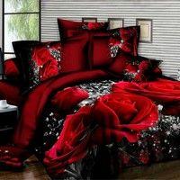 duvet cover set 3d oil painting bed in a bag 23pcs bedding sets queentwin size bedding set comforter bag duvet cover size queen color red