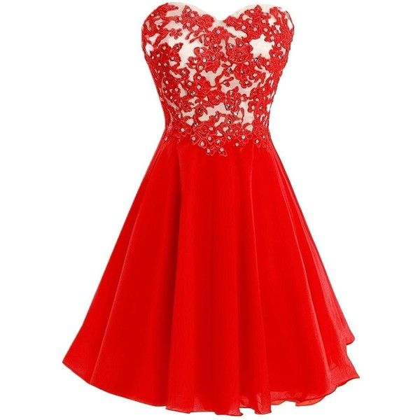 Icy Sun Crystals Applique Prom Gowns Chiffon Strapless Cocktail... ($69) ❤ liked on Polyvore featuring dresses, short dresses, strapless bridesmaid dresses, short strapless dresses, bridesmaid dresses and red strapless dress